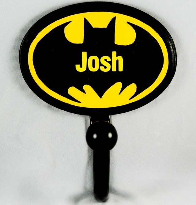 Batman Bathroom Sign: Hand-painted Personalized Towel Hook For Our Batman