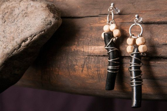 Wood Black and light beige Sterling Silver by CreativeCompulsions