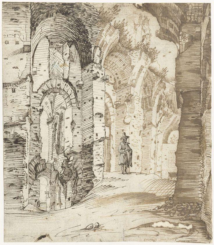 Gerard ter Borch (I) | Ruïnes van de fundamenten van het Paleis van Septimius Severus, Rome, Gerard ter Borch (I), c. 1607 - c. 1609 |