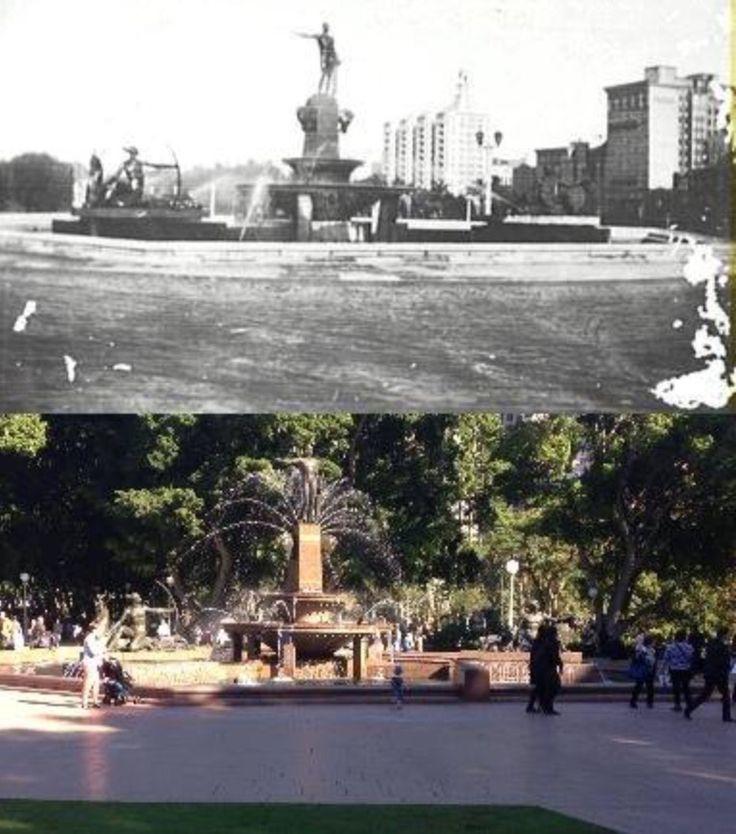 Hyde Park's Archibald Fountain in 1930 and 2015. [1930 - Sydney City Archives>2015 - Phil Harvey]