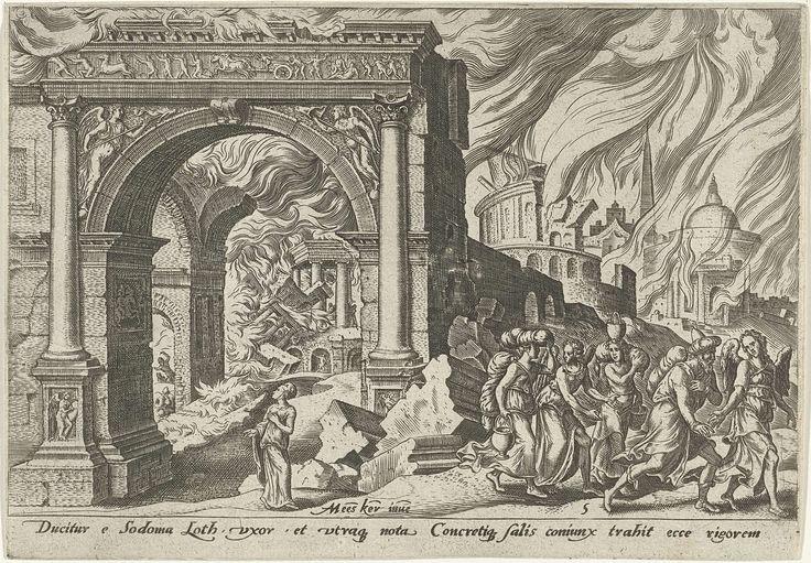 Philips Galle | Loth en zijn familie verlaten de stad Sodom, Philips Galle, 1569 | Loth en zijn familie vluchten door de stadspoort, begeleid door twee engelen. Achter de poort ligt de brandende stad Sodom. In de poort staat de vrouw van Loth die omkijkt naar de brandende stad.