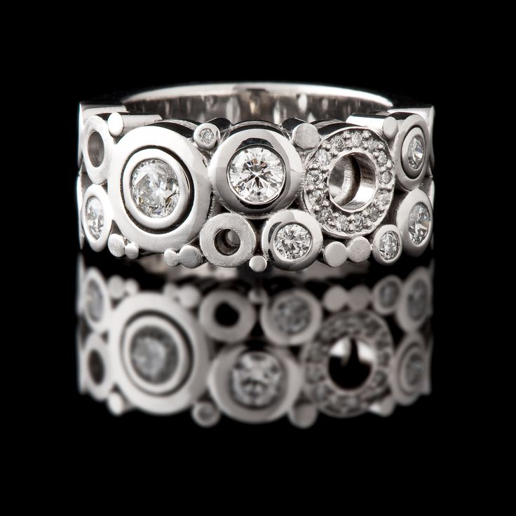 18ct white gold Wide Diamond ring from our 'Carbonated' collection #CaratsJewellery