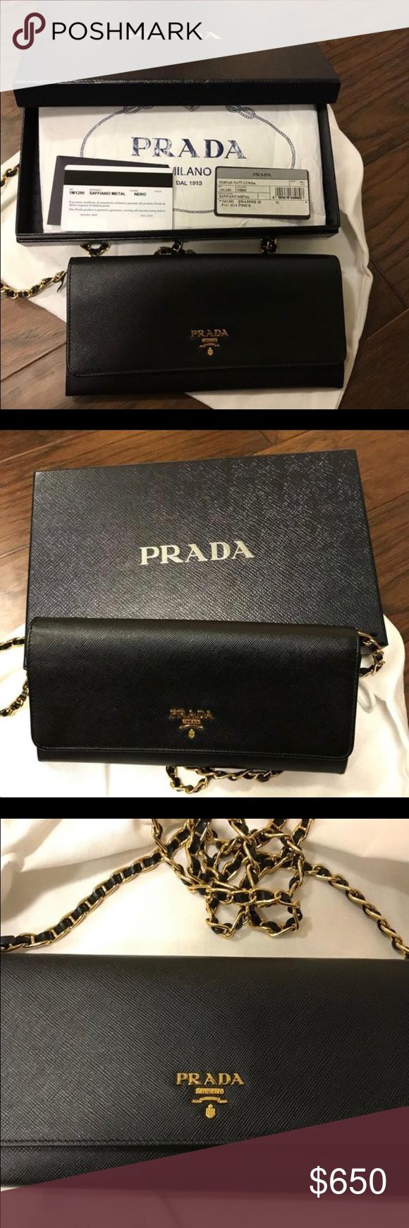Prada Black Saffiano Wallet on Chain Black Prada Wallet on Chain- in great condition except near ends of chain (see last two photos) on both sides of the purse. Can be easily fixed with glue or stitch. You can also buy new chain at Prada for $135. Actual chains are still in tact, so you don't have to worry about chain falling off.   Gold tone hardware. Removable chain so you can use as wallet or clutch. Comes with box and authenticity card. New bag currently retails at $875 + tax at Saks…