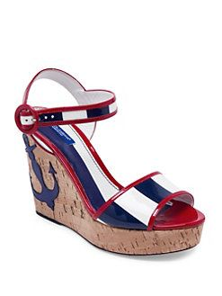 Dolce & Gabbana - Anchor Patent Leather Cork Wedge Sandals