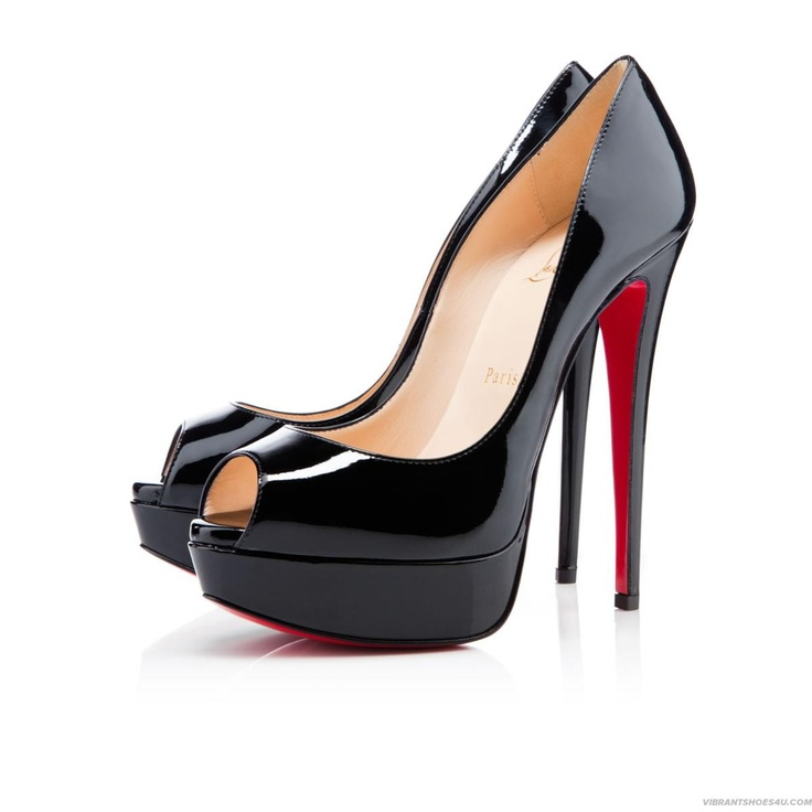 These are the Christian Louboutin Lady Peep platform pumps in black patent  leather.
