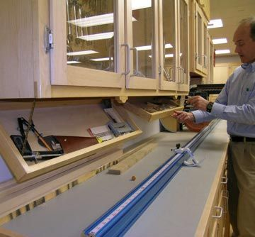 Drop-down tool trays mount under the cabinets for streamlined storage                                                                                                                                                                                 More