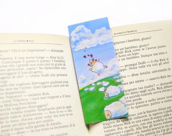 Sheep in love laminated bookmark by FunkyFancyAnimals on Etsy, €1.70