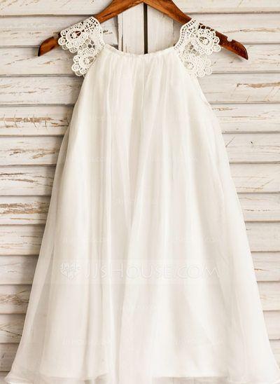 Forme Princesse Col rond Longueur mollet Dentelle Mousseline de soie Manches courtes Robes à Fleurs pour Filles Robe de demoiselle d'honneur - fillette