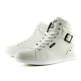 White Casual Men's Boots With Buckle and Rivets Design