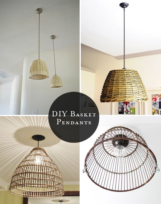 DIY basket pendants - roundup by At Home In Love. For more DIY lamp ideas to pin, visit pinterest.com/ilikethatlamp