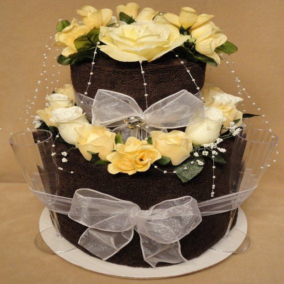 UNIQUE TOWEL CAKE IDEAS | ... Shower Towel Cake Wedding Gift Two Tier Chocolate Cake Centerpiece