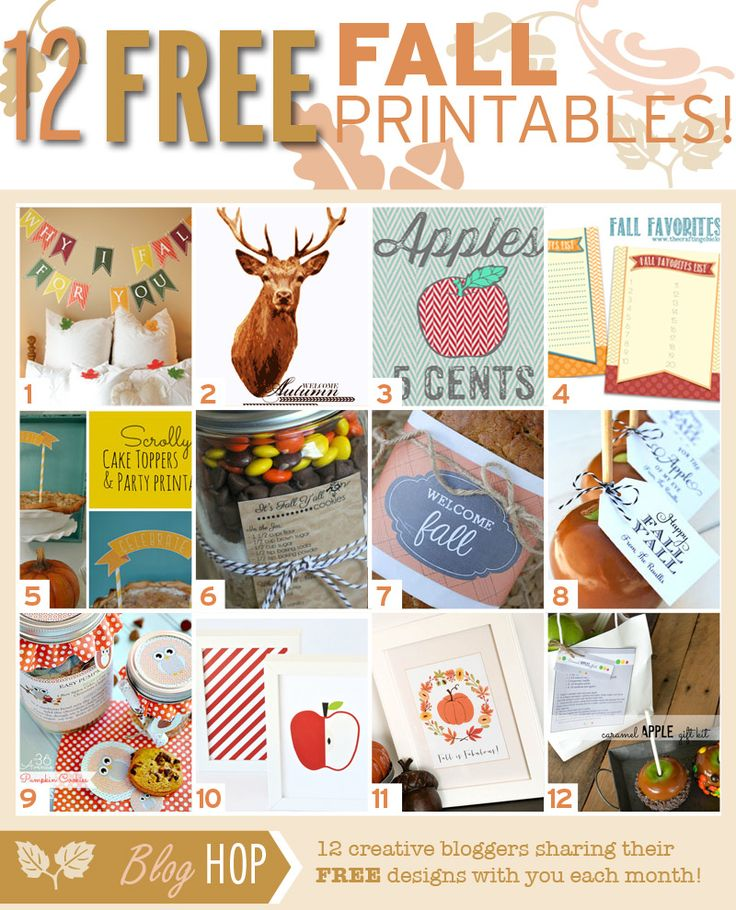 It's a BLOG HOP! Follow the links to snag all 12 FREE Printables for FALL! #freeprintables #fall #bloghop