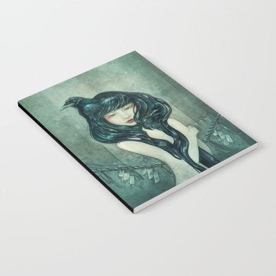 Oracle of the sodden raven Notebook, fantasy portrait    art by strijkdesign
