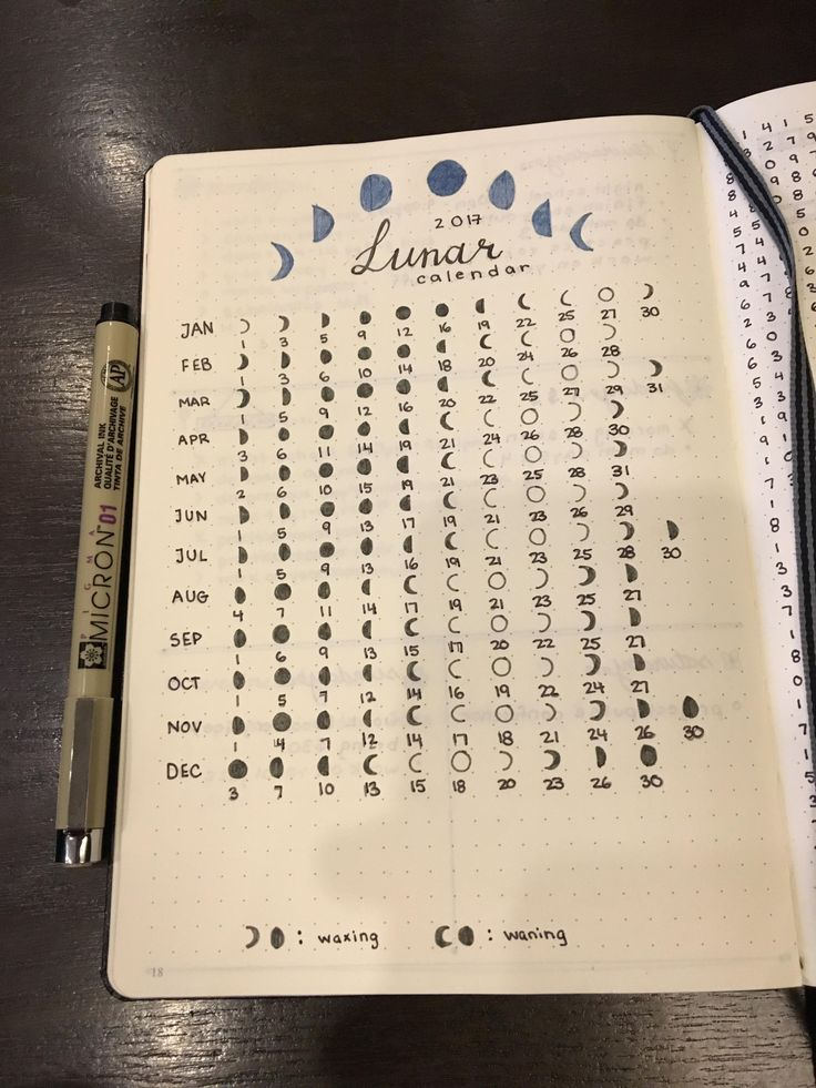 Calendar Bullet Journal 2018 : Best lunar calendar ideas on pinterest
