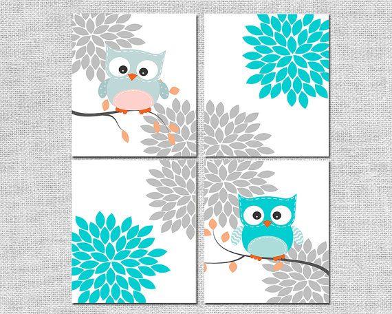 Gufo Baby Nursery Decor  fiore Burst parete di SleepyOwlPrints