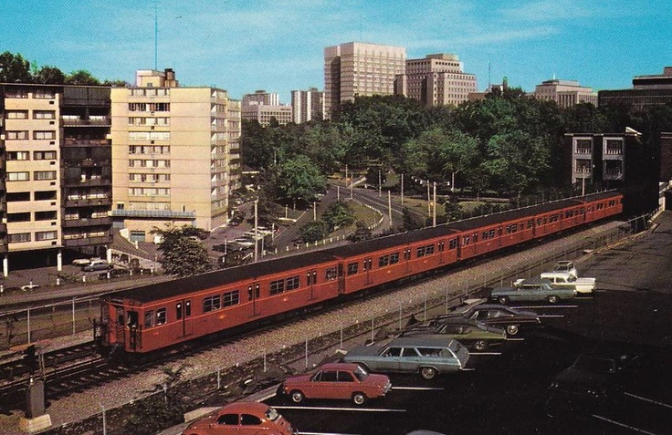 A classic TTC subway train travelling between Rosedale and Bloor-Yonge stations in Toronto, circa 1970s