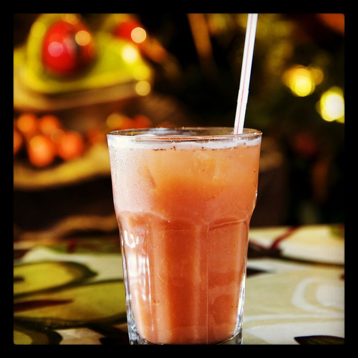 Rainforest Ricky: Pineapple, apple, strawberry, orange and grapefruit juice. Stimulates digestion!