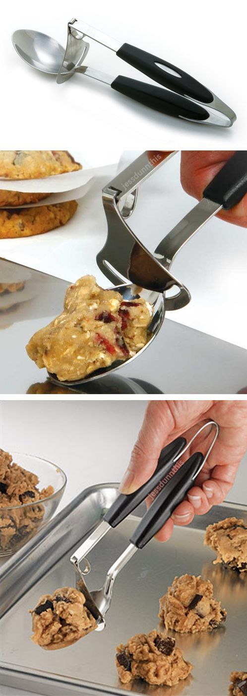 Scoop & Release Cookie Dropper // with a simple squeeze, the cookie batter just slides off with the in-built squeegee! Clever baking kitchen gadget #product_design: