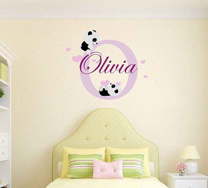 Personalized Name Panda Wall Decal Personalized Wall Decal Girl Name Sticker Nursery Wall Decal Personalized Name Vinyl Wall Decal Cik2314 Personalized Wall Decals Nursery Wall Decals Vinyl Wall Decals