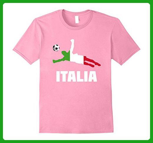 Mens Italia Soccer Player Ball Shirt - Italy Football Tee Large Pink - Sports shirts (*Amazon Partner-Link)