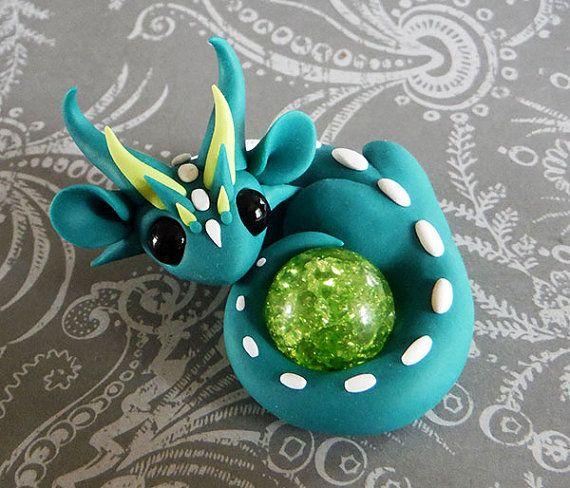 Turquoise Scrap Dragon by DragonsAndBeasties on Etsy