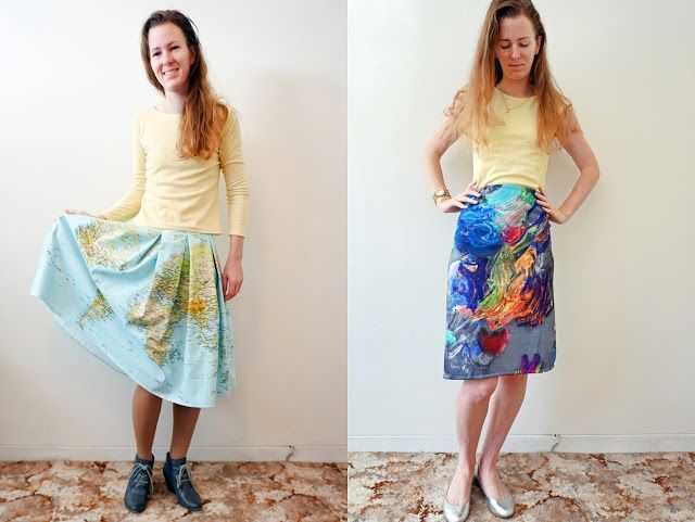 Antipodean Stitcher: Messy Artist and Geographer Skirts