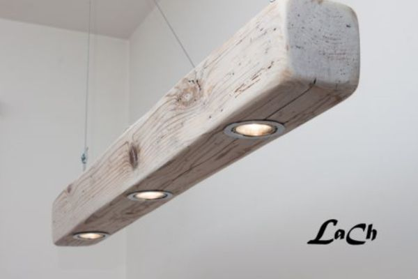 Cool Rustic Overhead Lighting for a desk or shop by installing can lights (with a fire rated insert and vented at the top) into a beam. Hang by cables or ropes