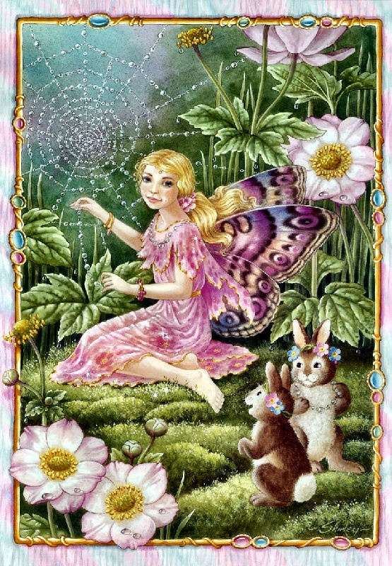Fairy with Wild roses, bunnies weaving a web Shirley Barber fairies February  b