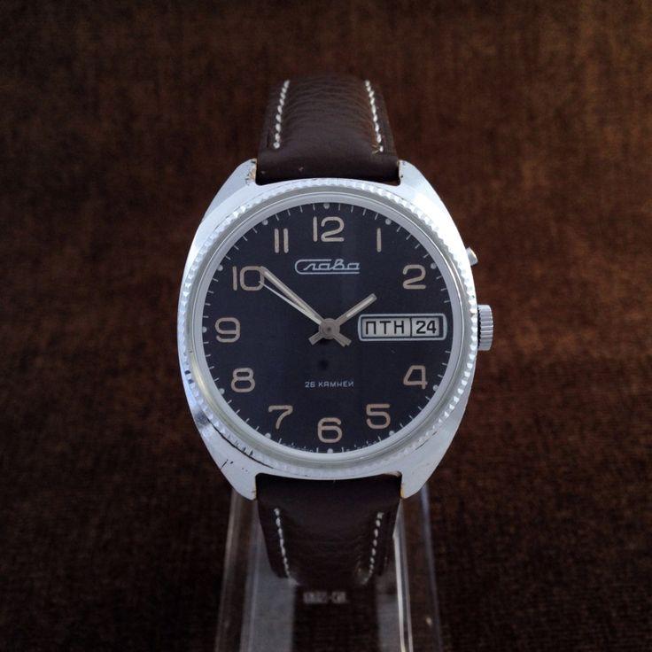 Slava (Glory) Chunky Soviet Mens Dress Watch With 26 Jewels Movement - ussr watch, mens watch, raketa watch, slava watch, wostok watch, 70s by BestVintage4You on Etsy