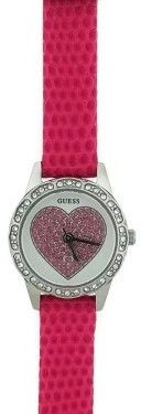 GUESS W0888L10 Women's Pink Leather Bracelet With Silver Analog Dial Watch NWT