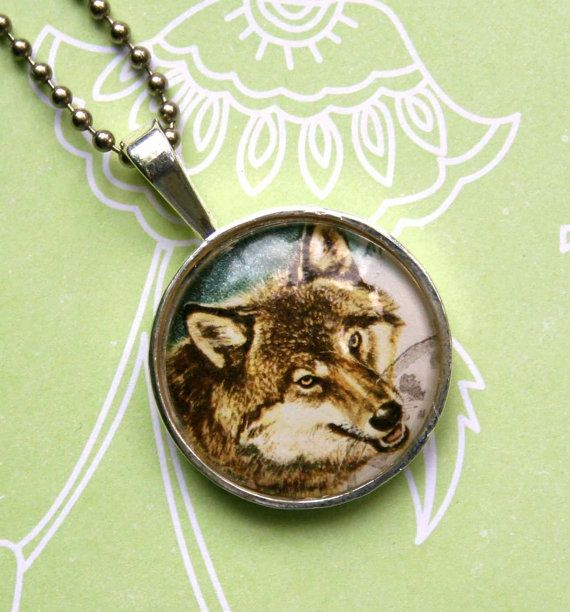 Call of the Wild necklace - Wolf vintage postage stamp necklace, by CrowBiz on Etsy