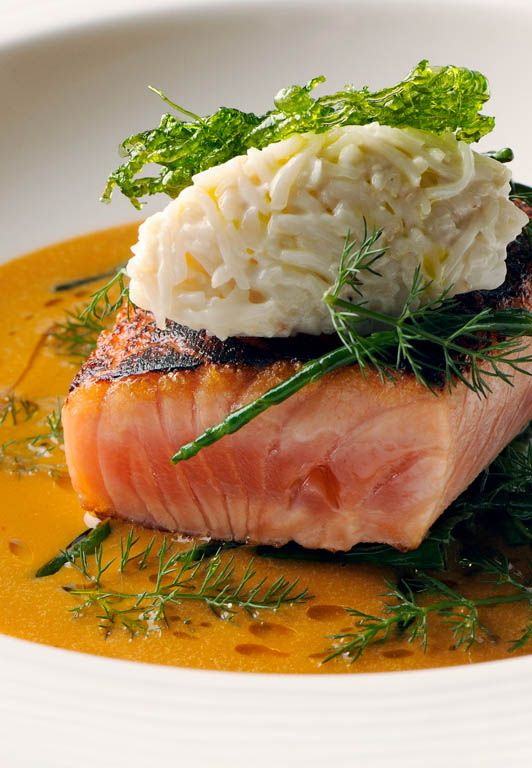 Cider-cured sea trout with a crab sauce and sea vegetables - Nathan Outlaw.  he centrepiece, sea trout cured in apple cider, is remarkably easy.