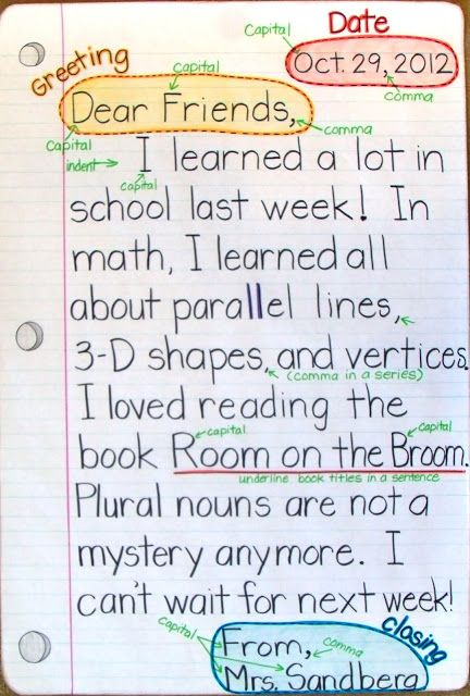 Have students do this weekly so they can learn to write letters as well as just basic writing strategies. This way you know what they learned. Model maybe 1st and 2nd week then have them do it every Friday before they leave for the week.