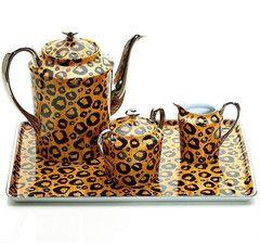 Design Sophie Villepigue Leopard Limoges Coffee/Tea Set with Platinum. Handmade in France.