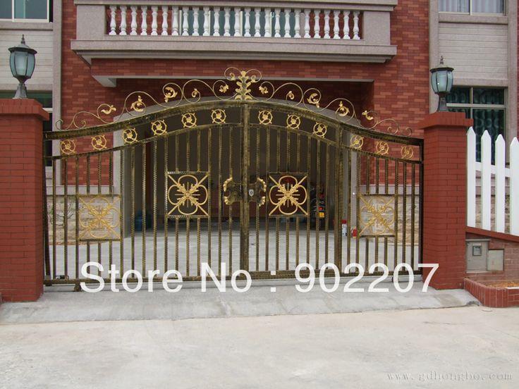 Кованого железа ворота, железные ворота безопасности-014