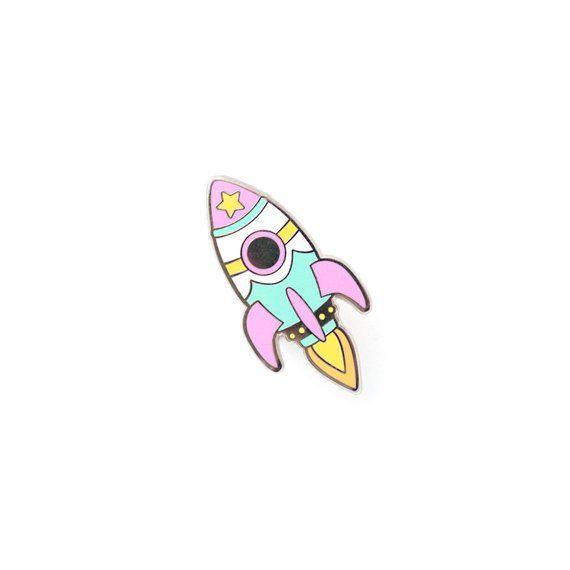 0b23a54618d Pastel Retro Rocket Enamel Pin - Hard Enamel Pin Cloisonné Spaceship Lapel  Pin Rocket Pin Badge Kawa