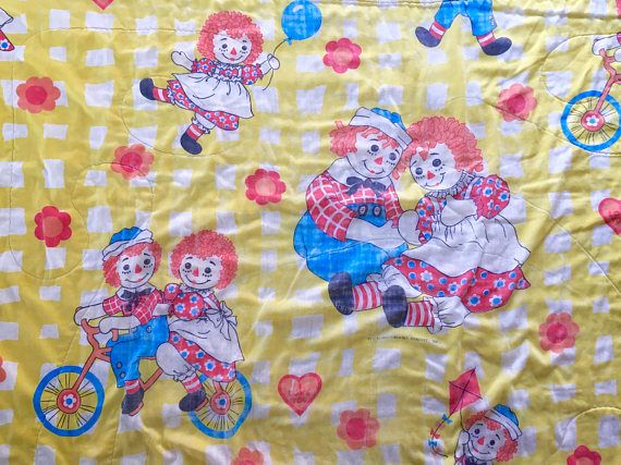 1970u0027s raggedy ann u0026 andy comforter bedspread throw blanket bedding bikes bicycle heavy vintage 70s yellow checked sheets original gingham