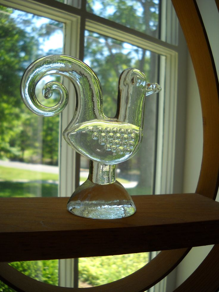 Kosta Boda Glass Rooster Bertil Vallien Zoo Series by Modernaire on Etsy