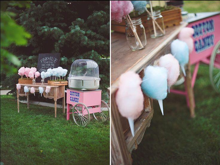 Un puesto de algodón de azucar en tu comunión | Decoración