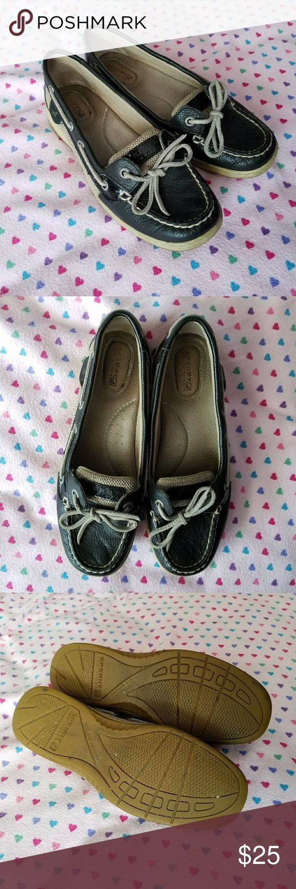 Sperry Top Wider - Navy Blue Boat Shoes Worn a few times. They don't fit my wide feet. In very good condition. Sperry Top-Sider Shoes Flats & Loafers