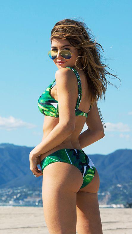 Green Tropic Print Braided Strap Bikini Set