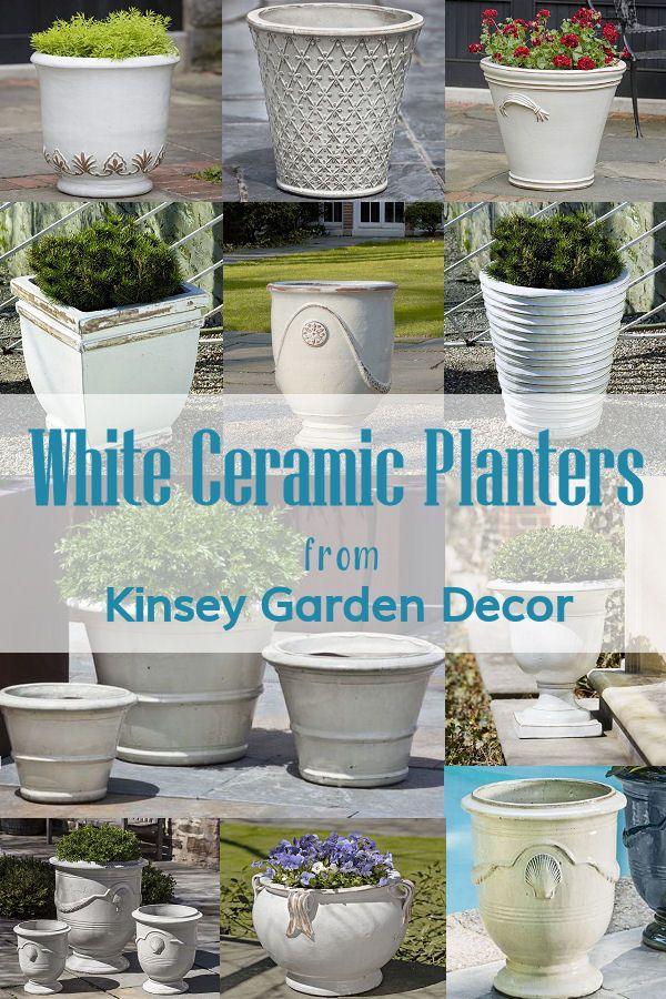 Ceramic Urn Gulf Planter Antique White Kinsey Garden Decor In 2020 White Ceramic Planter Ceramic Planters Planters