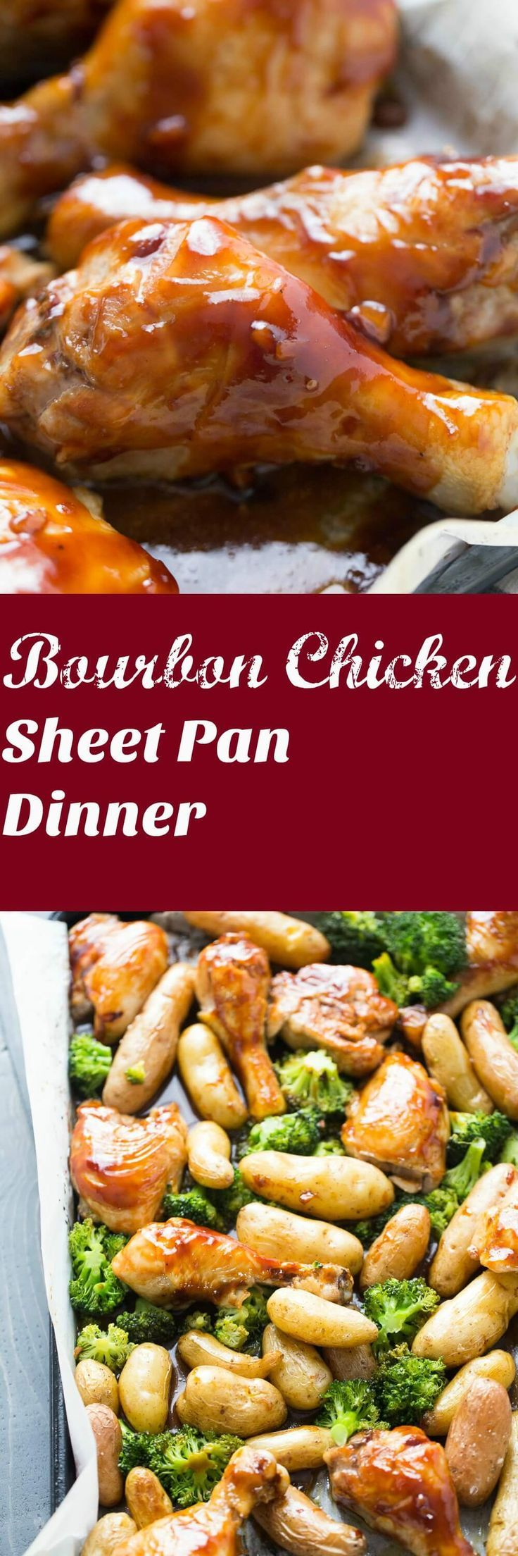 Sheet pan dinners are family friendly and easy to make!  Chicken is baked along with potatoes and broccoli then covered in a perfectly seasoned bourbon sauce!  Get the napkins ready! lemonsforlulu.com via @Lemonsforlulu