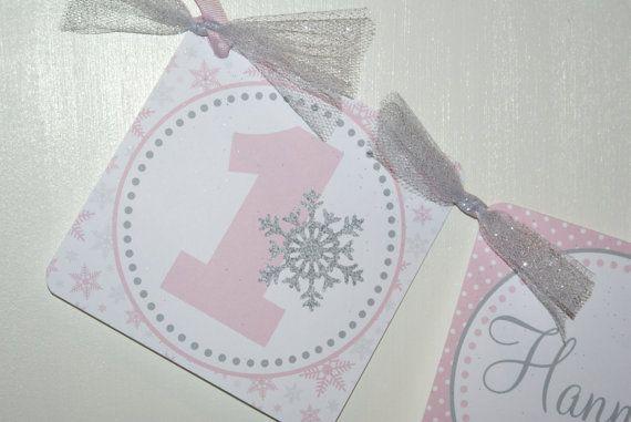 Winter Onederland High Chair Banner by The Party Paper Fairy, Winter Wonderland Birthday Banner, Pink & Grey Birthday Party, Winter Birthday Theme, First Birthday Theme