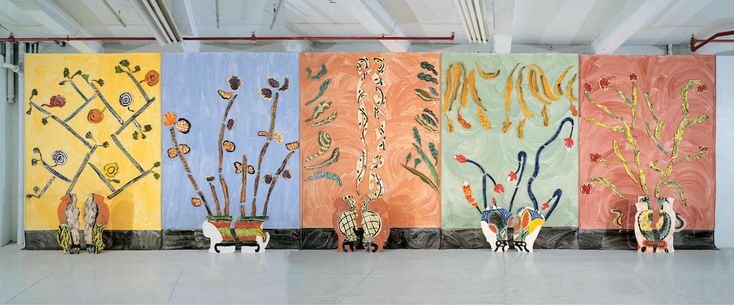 """Betty Woodman, """"Ceramic Pictures of Korean Paintings"""" (2001/02), glazed earthenware, clay, canvas 37 1/2 x 10 x 1 feet (courtesy Salon 94)"""