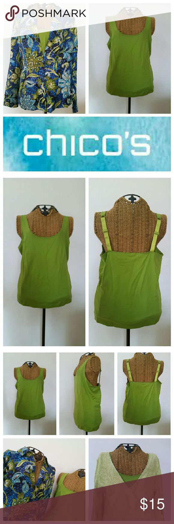 """CHICOS green cami tank top 1 S Comfy tank top Sz 1 Nylon spandex  Underarm to underarm 17"""" unstretched  Looks so good with so many things Shown with Chicos blouse and a sweater listed separately ...Happy to bundle Chico's Tops Camisoles"""