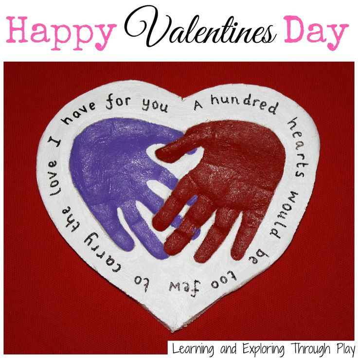Valentines Day Keepsakes. Salt Dough Hand print Keepsakes. A hundred hearts would be too few to carry the love I have for you. Learning and Exploring Through Play.