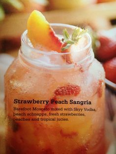 Strawberry Peach Sangria: White Wine, Vodka, Peach Schnapps, Fruit and Tropical Juices~. Joe's Crab Shack recipe. INCREDIBLE!!!!!