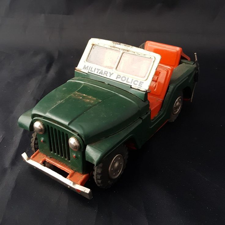 Vintage Jeep Tin Litho Military Police Army Jeep Friction Drive Willys MP toy
