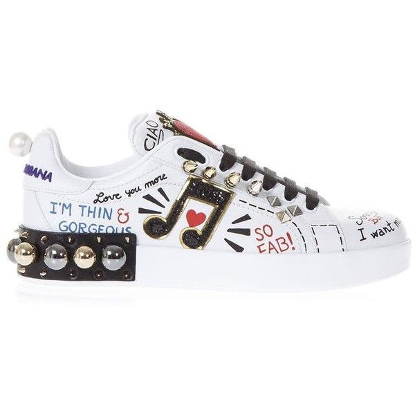 Music Printed Leather Sneakers With Patch (20.492.280 VND) ❤ liked on Polyvore featuring shoes, sneakers, white, dolce gabbana trainers, print shoes, dolce gabbana shoes, white trainers and leather upper shoes